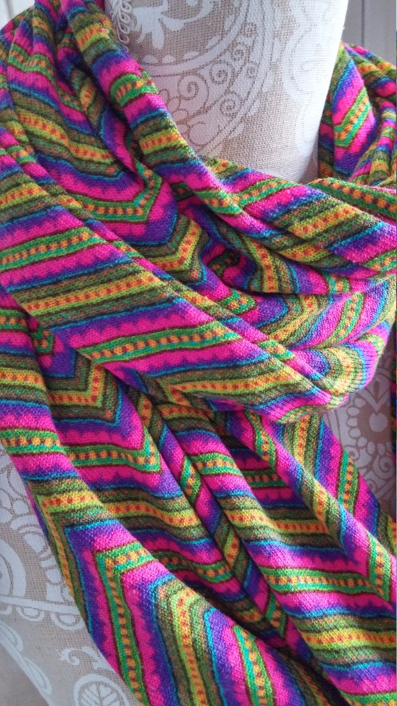 Sweater Knit Chevron Print Infinity Scarf scarf Women
