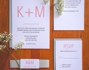Modern Wedding Invitation Suite - Luxury Wedding Invitation - Modern Wedding - Grey and Pink Wedding Invitations - Chic Wedding SAMPLE