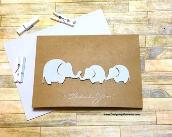 Gender Neutral Twins Baby Shower Thank You Card Set, Grey Elephant Twins Baby Shower Cards Stationery, Gray Twin Elephants Note Cards, Twins