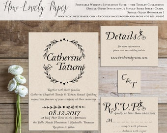 Printable Wedding Invitation Suite - the Tinsley Collection