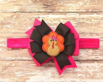 Thanksgiving Headband, Pink Turkey Bow, Turkey Hair Bow, Thanksgiving Hair Bow, Turkey Headband, Pink Turkey Hair Bow, Pink Turkey Headband