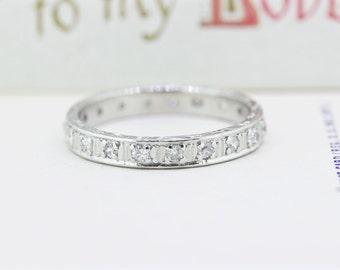 Platinum Wedding Band | Vintage Wedding Ring | Diamond Eternity Band | Antique Diamond Ring | 1930s Wedding Band | Size 6 1/2