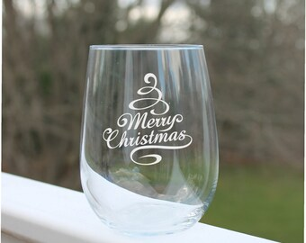 christmas wine glasses, Etched Stemless wine glasses, Wine Glass, Etched - 17oz, Wine Glasses, stemless wine glass etched, engraved