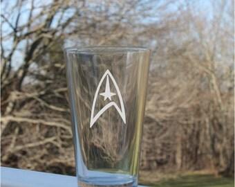 star trek pint Glass, beer glasses, star trek gift, Etched Pint Glass, etched beer glass, pint glasses, beer glass,
