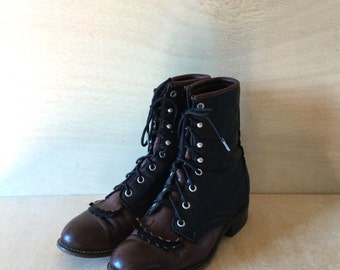 Vintage Justin Two-tone Lace up Kiltie Western Ankle Riding Boots Womens  Size 7