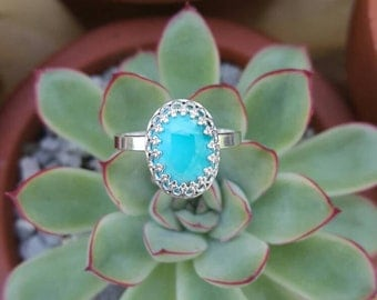 Genuine natural turquoise crowned statement ring filigree