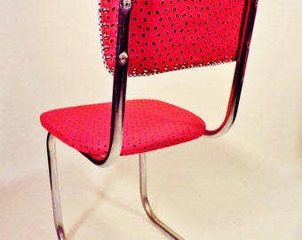 mid century kitchen chairs retro recovered chrome chairs red eyelet and black