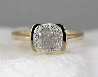 14K Yellow Gold Raw Diamond Halo Ring - Rough Diamond Engagement Rings - Uncut Conflict Free Diamond Ring - Raw Diamond Gemstone Rings