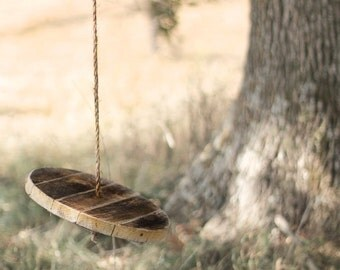 Round Wood Swing - Tree swing - Childrens swing