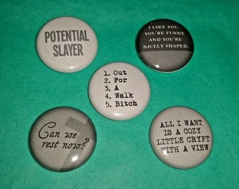 Buffy the Vampire Slayer-Inspired 1-inch Buttons | Set One