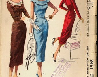 1950s Size 14 Bust 32 Princess Seam Wiggle Dress McCalls 3461 Vintage Sewing Pattern 50s Sheath