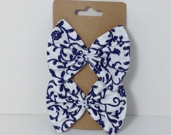 Handmade Blue Floral Vine Fabric Bow Hair Clips {Set of 2}