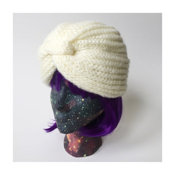 Vintage Turban Hat Acrylic Knit Womens Gypsy Turban - Cream White Knit Fashion Hat Turban Statement Hat Knit Acrylic Toboggan Gypsy Hat Vtg