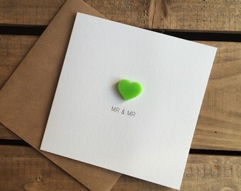 Mr & Mr Wedding Day Card with Lime Green detachable Love Heart magnet keepsake