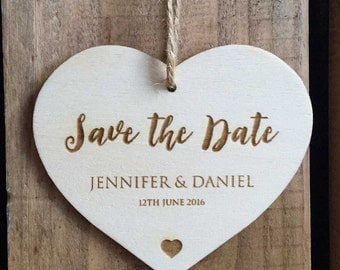 Engraved Wooden 'Save the Date' Love Heart Tag // 60 x 50mm // Wedding Invitation