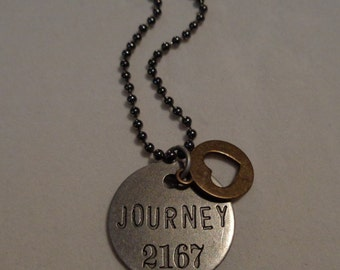 """Inspirational Stamped Necklace. """"Journey"""" Mixed Metal Tones"""