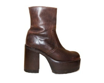 Brown Leather Mega Platform Ankle Boots • Womens 8  • Deadstock Chunky • Stacked Heel • minimalist • motorcycle biker grunge 90s