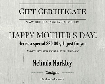 The Perfect Mother's Day Gift! e-Gift Certificate INSTANT DOWNLOAD