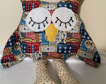 Stuffed Americana Owl / Owl decor / Amerciana decor / USA decor