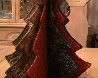 Quilted Batik Christmas Tree and Tree Skirt