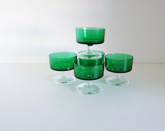 Vintage Luminarc Green Dessert Sundae Sherbert Dishes Set of Five Made in France Circa 1970s