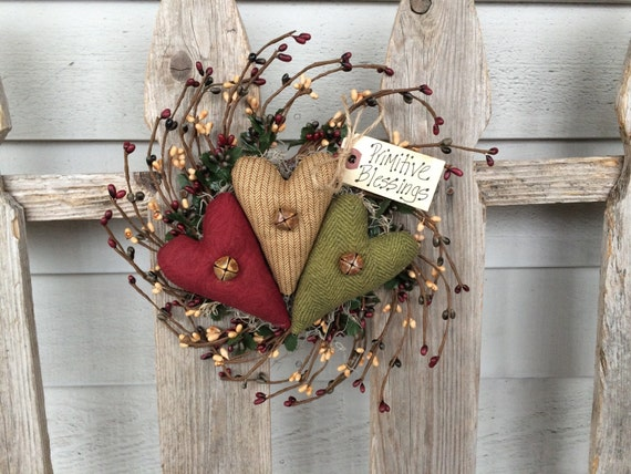 Primitive Wreath Heart Pip Berry Wreath Folk Art Peg