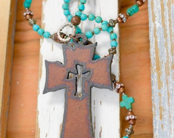 Rustic Cross Necklace, Turquoise Howlite, Boho Necklace, Cross Necklace, Sundance Style, Rustic Jewelry, Perfect Gift, Religious Gift