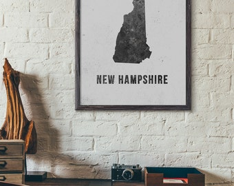 New Hampshire Printable Map, Black and White, Modern Map Art, Industrial Style, Loft, Cafe Wall Art, Retro Art, 5x7 8x10 11x14 16x20, E029