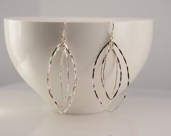 Silver hoop earrings. Marquise earrings. Marquise 3D earrings. Long geometric earrings. Long geometric 3D earrings