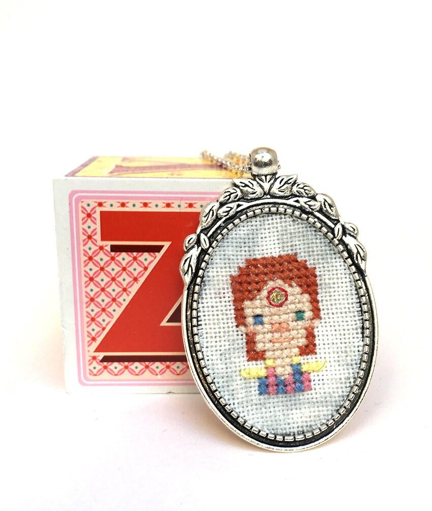 David Bowie Necklace Cross Stitch Necklace Embroidery Jewlery David Bowie  Jewelry Miniature Portrait Ziggy Stardust Pendant