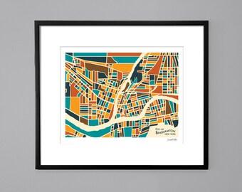 Binghamton, NY Abstract Illustration Map Print