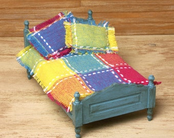 Colorful Miniature Bedspread with Pillows for Your Dollhouse