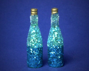 Decorative Miniature Bottle Shades of Turquoise for your Dollhouse