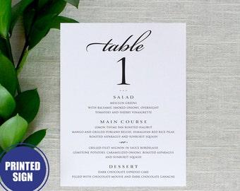 Printed Table Number and Menu Card, Wedding Reception Menu Card with Table Number, Wedding Table Number, Wedding Menu Card, Table Cards