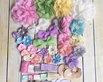 Pastel and Lace headband DIY headband kit - baby shower headband station - diy baby headband kit
