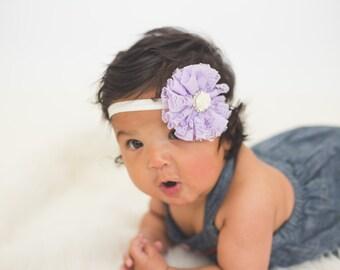 Lavender Lace Headband, Lace Baby Headband, Lavender Baby Headband, Newborn Photo Prop, Baby Shower Gift, Lace Flower Headband, Newborn