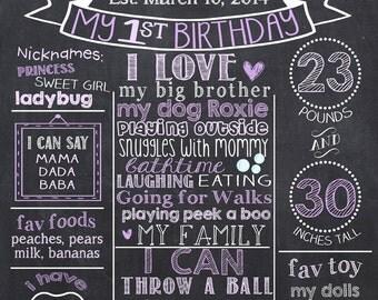 Purple First Birthday Chalkboard, Girl 1st Birthday Chalkboard, Purple 1st Birthday Chalkboard, Lavender 1st Birthday Board