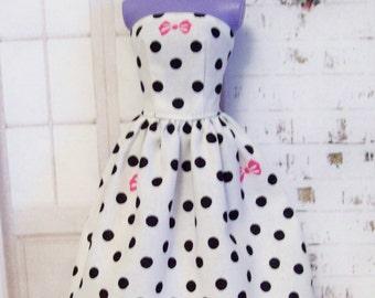 Handmade Barbie Clothes , Black and White Polka Dot Dress ,Hot Pink Bows