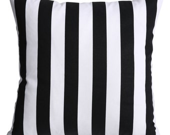 One Black and White Stripe Zipper Pillow Cover 20x20 Inches Decorative Pillow Throw Pillow Cushion Cover-5QIE