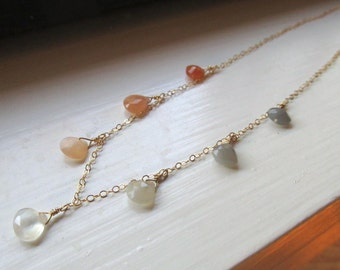 Multi moonstone statement necklace OOAK briolettes