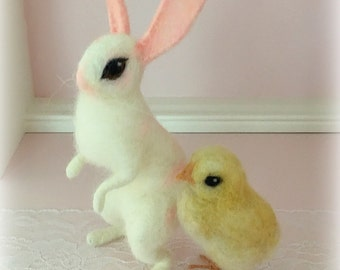 Needle felted needle felting easter bunny chicken chick