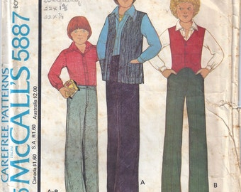 1977 Boy's Vest, Shirt and Pants Pattern, McCalls 5887, Size 10