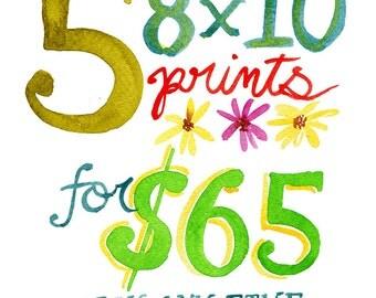 SALE - Set of 5 8x10 Art Prints   Watercolor Wall Art   Discount