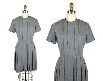1960s Grey Pleated Dress / 60s Fitted Day Dress / Schoolgirl Uniform Dress