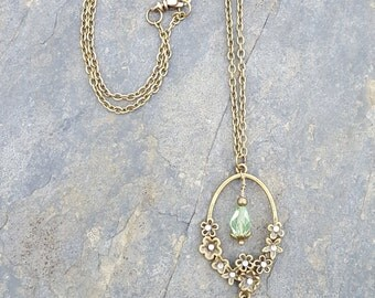 Suffragette Inspired Antique Gold Flower Drop Necklace