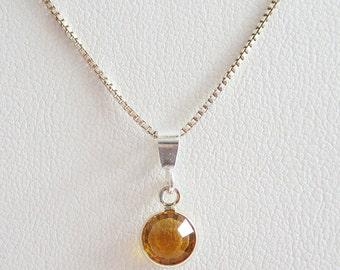Orange Birthstone Swarovski Channel Drop Pendant Charm and Necklace