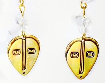 Bronze Mask Rock Crystal Earrings Tsalagi Cherokee Made