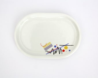 Vintage Ditmar Urbach Tray // Colorful Geometric Design Stoneware