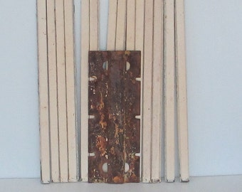 Antique Hoosier Cabinet Metal Side Bracket And Part Of A Tambour Roll Door,  Rusty Salvage