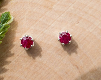 Ruby Earrings in Sterling Silver, 14kt Yellow or 14kt White Gold